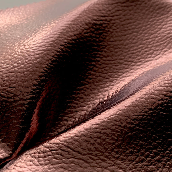 Mirror Shine Metallic Faux Leather Pleather Fabric - Rich Brown