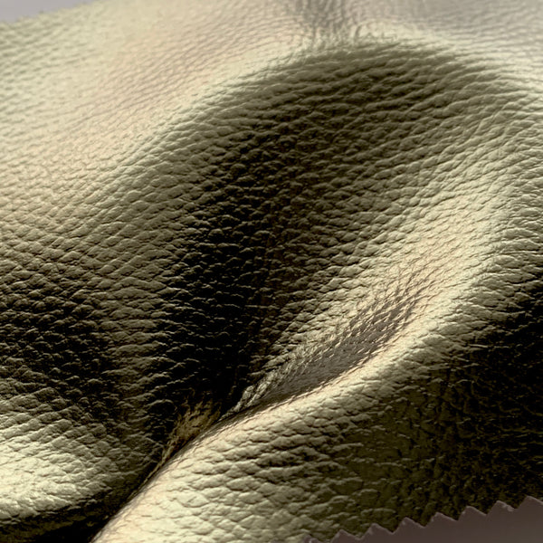 Mirror Shine Metallic Faux Leather Pleather Fabric - Khaki
