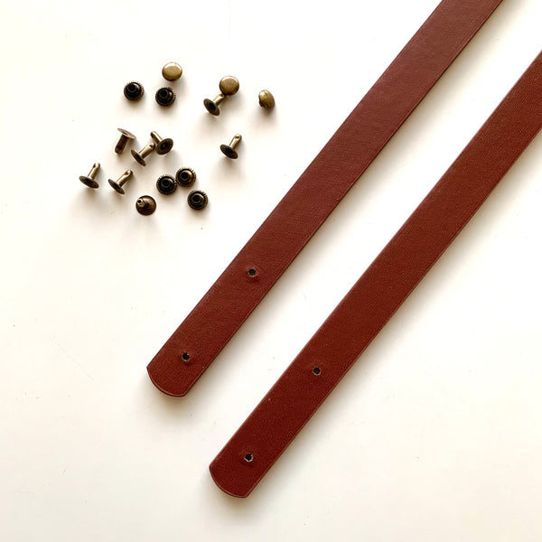Leather Bag Straps with Rivets - Milk Chocolate