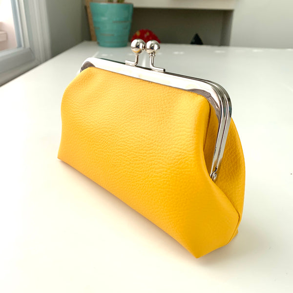 Stitched by Lisa - Faux Leather Clasp Purse - HELLO YELLOW SUNSHINE