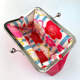 Stitched by Lisa - Faux Leather Clasp Purse - HOT PINK PEONIES