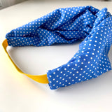 Stitched by Lisa - Adult Knotted Headband - Blue Cornflower Dots