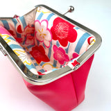 REFILL KIT (NO PATTERN) Peasy Purse 2 Purse Kit with Fabrics - Hot Pink Peonies PU.