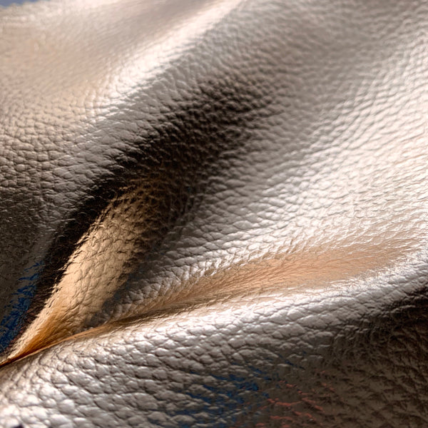 Mirror Shine Metallic Faux Leather Pleather Fabric - Gold