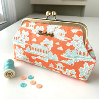 Easy Peasy Purse 2 Purse Making Kit with Cotton Fabrics & Metal Label - Peach Pagoda. LTD EDITION