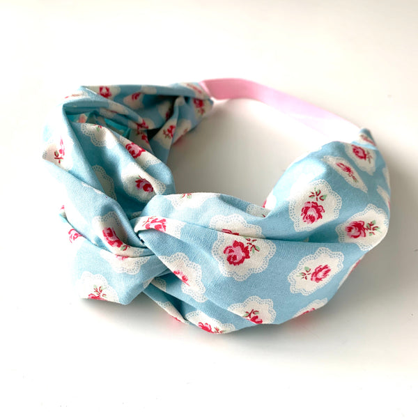 Stitched by Lisa - Adult Knotted Headband - Pink Posies