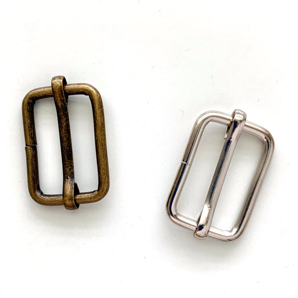 "1"" Wire Rectangle Slider Buckle - 2 colours. 2pk"