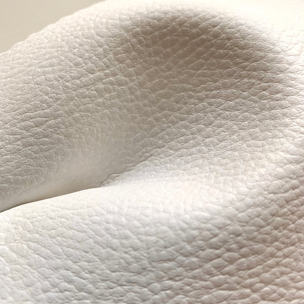 Medium Grain Faux Leather Pleather Fabric - IVORY WHITE