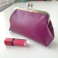 Stitched by Lisa - Faux Leather Clasp Purse - PLUM POP PEONIES