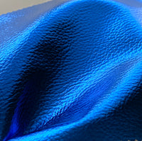 Mirror Shine Metallic Faux Leather Pleather Fabric - Royal Blue