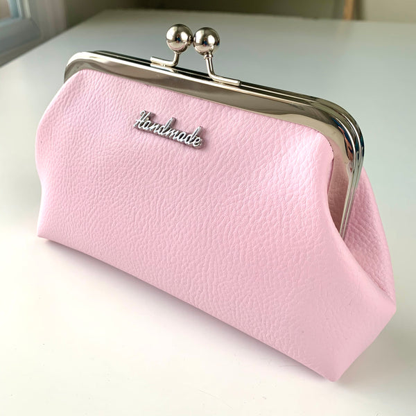 Stitched by Lisa - Faux Leather Clasp Purse - PINK BON BON