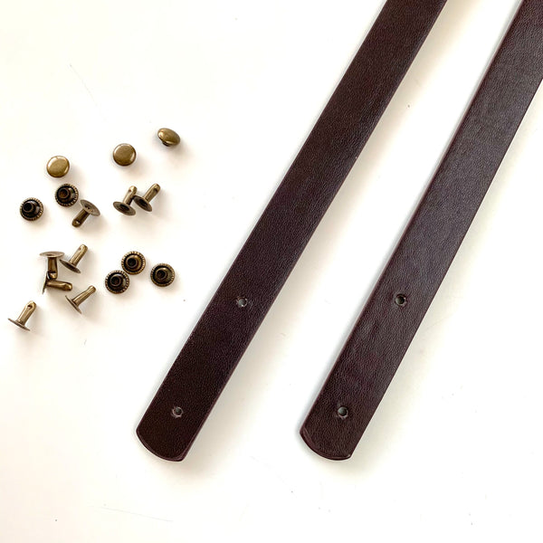 Leather Bag Straps with Rivets - Dark Chocolate