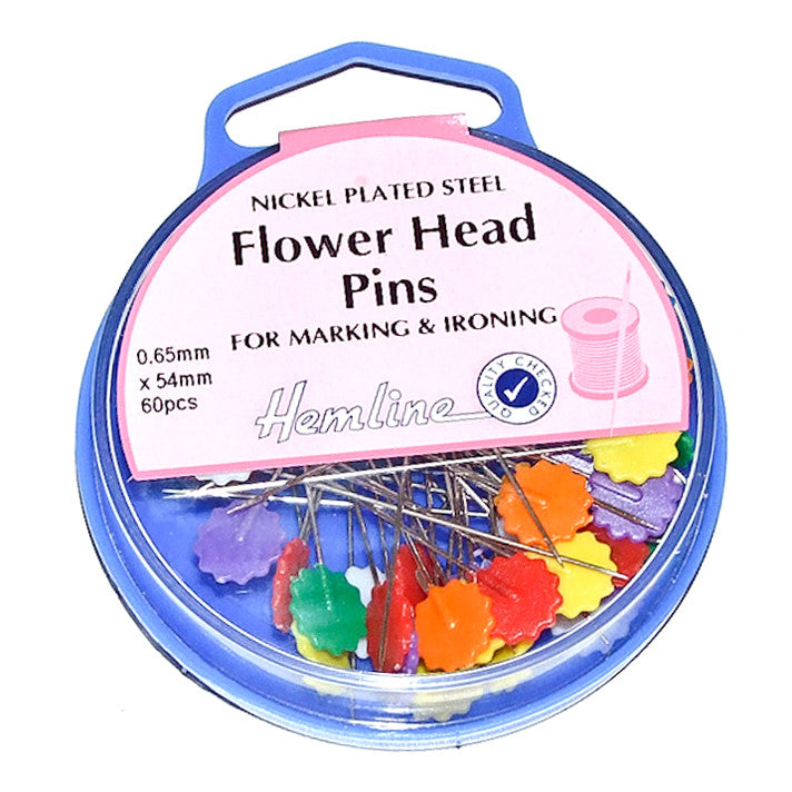 Hemline Long Flower Head Sewing Pins