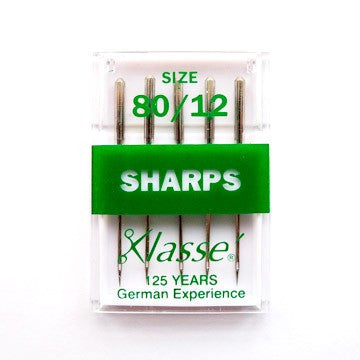 Klasse Machine Needles - Sharps 80/12. GREEN