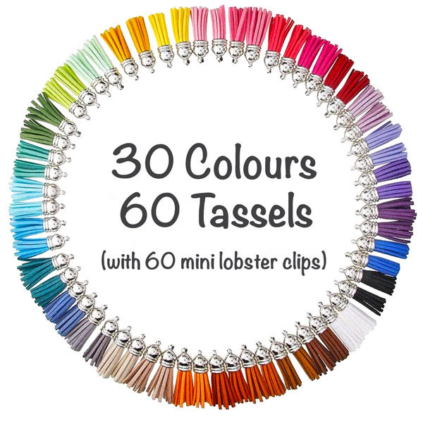 PREORDER - 60 Pack Silver Cap Tassels in 30 Colours (with lobster clips)