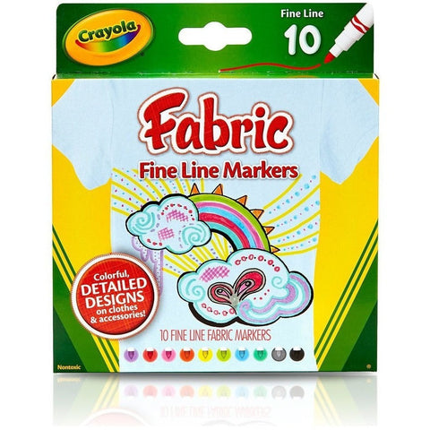 Art Supplies - Crayola Fine Line Fabric Markers (10 Ct)