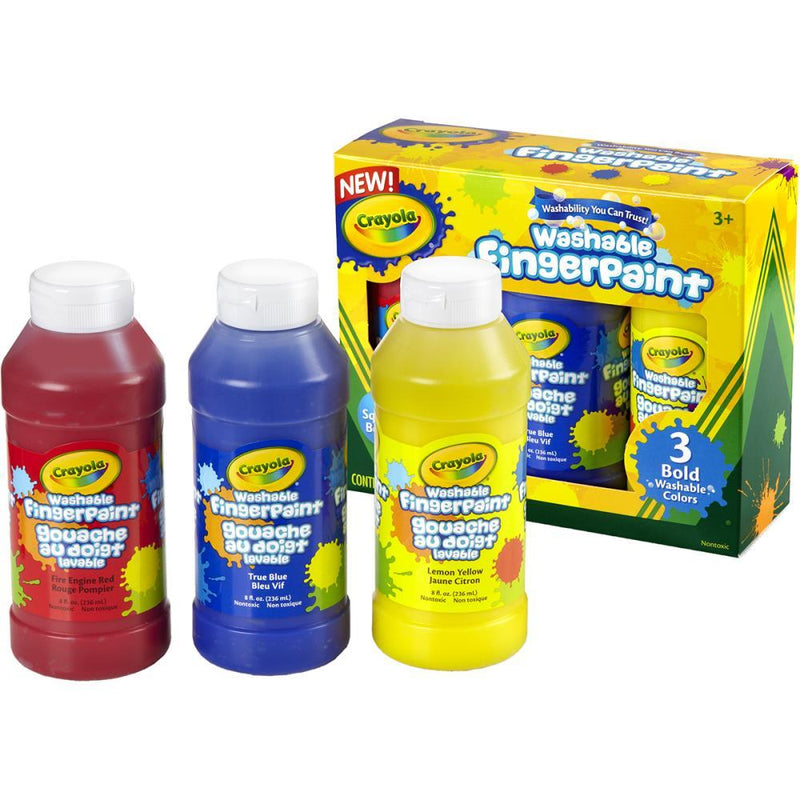 Art Supplies - Crayola Washable Finger Paint 8oz (3pk)- Primary Colors