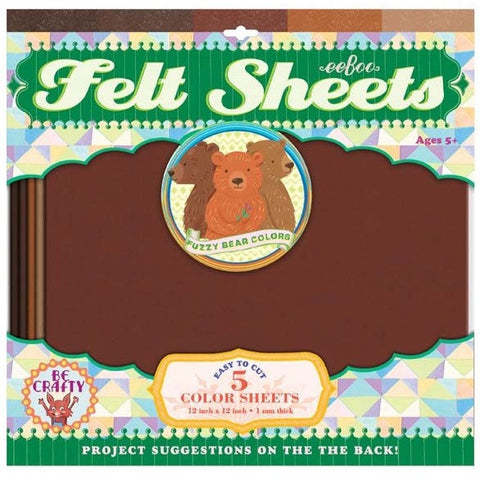 eeBoo Felt Sheets- 5 Pack- Bear- Anglo Dutch Pools & Toys  - 1