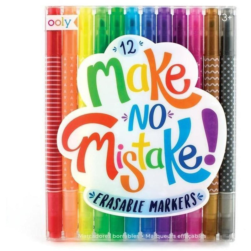 Art Supplies - OOLY Make No Mistake Erasable Markers - Set Of 12