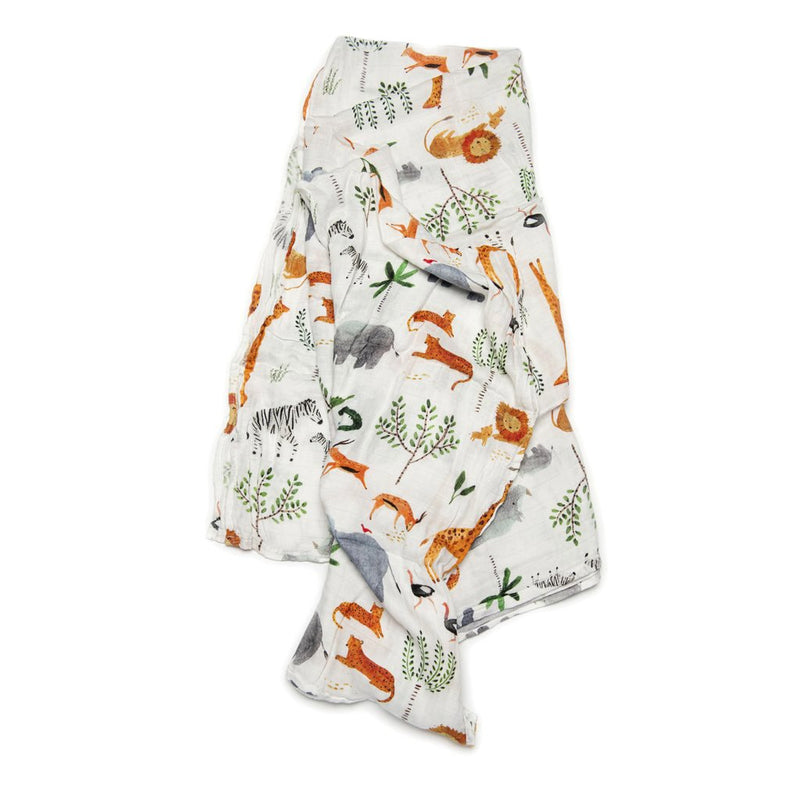 Baby And Infant Accessories - Loulou LOLLIPOP Muslin Swaddle - Safari Jungle 47 X 47""