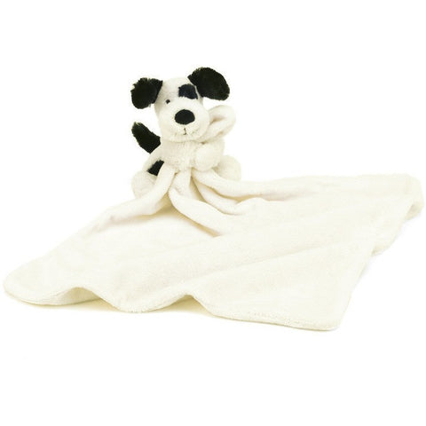 "Jellycat Bashful Black & Cream Puppy Soother 13"" - Baby and Infant Plush Items - Anglo Dutch Pools and Toys"