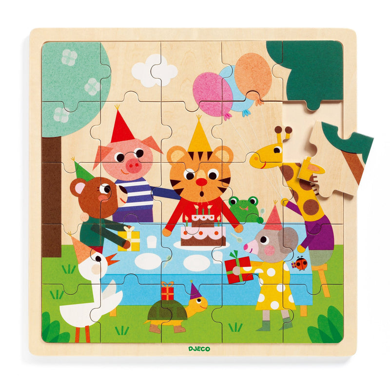 Beginner Puzzles - Djeco Wooden Happy Puzzle 25 Pc
