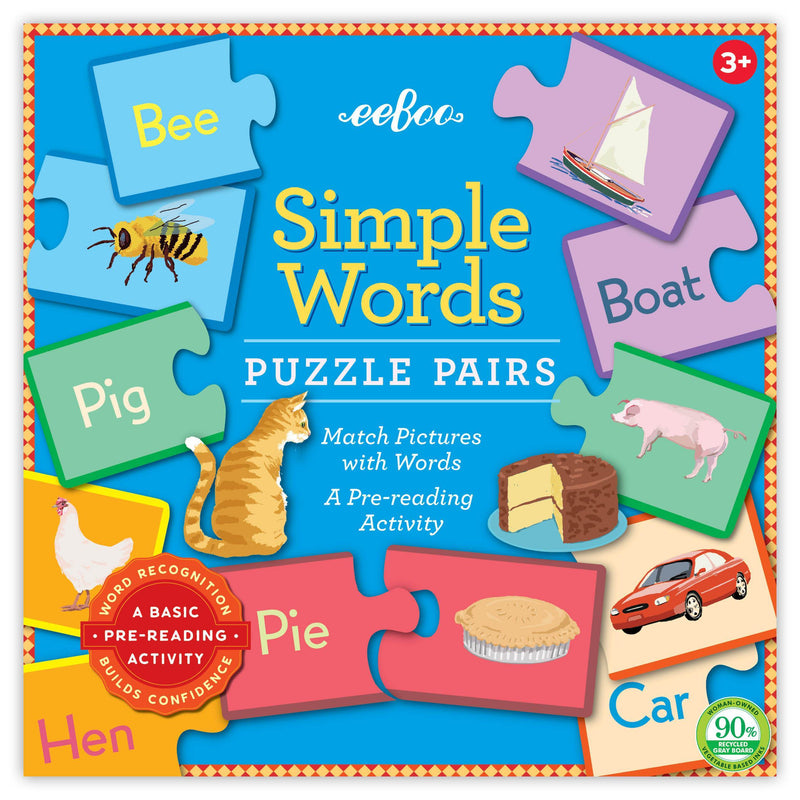 Beginner Puzzles - EeBoo Simple Words Puzzle Pairs