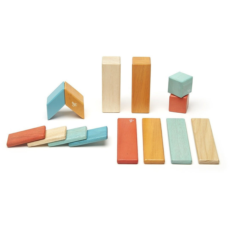 Tegu 14 Piece Magnetic Wooden Block Set- Sunset - Magnetic Building Sets - Anglo Dutch Pools and Toys