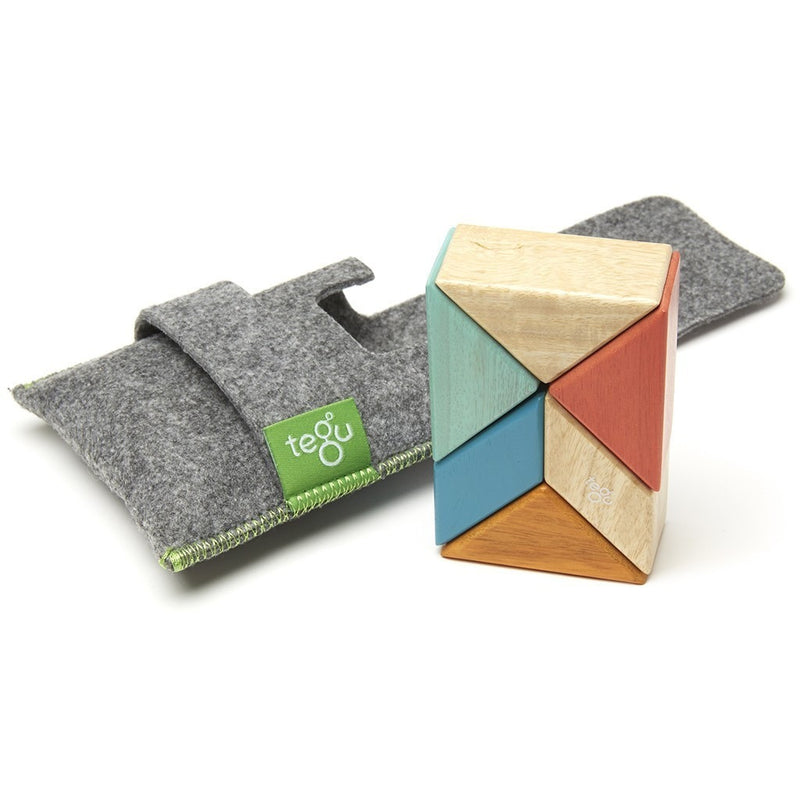 Tegu Pocket Pouch Prism Magnetic Wooden Block Set- Sunset - Magnetic Building Sets - Anglo Dutch Pools and Toys