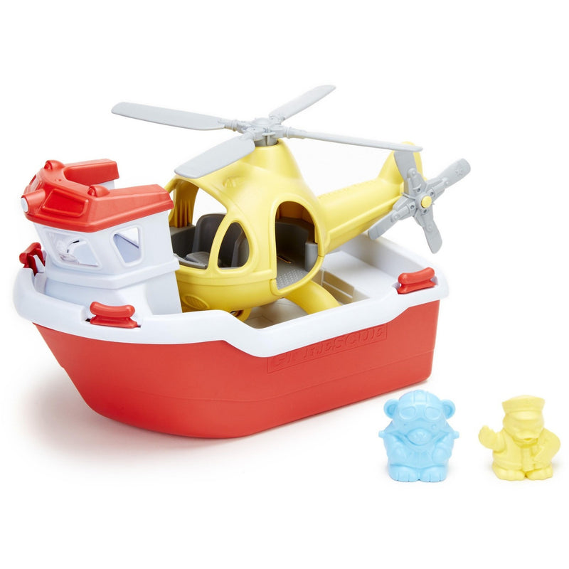 Green Toys Rescue Boat & Helicopter - Boats and Subs - Anglo Dutch Pools and Toys