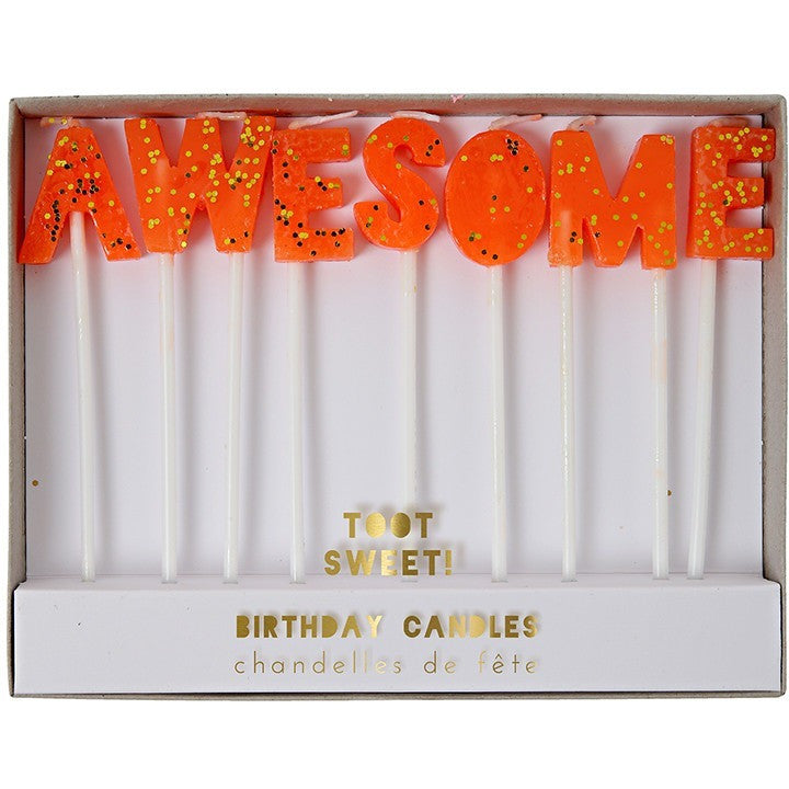 "Meri Meri Toot Sweet ""Awesome"" Candles - Candles - Anglo Dutch Pools and Toys"