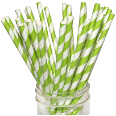 Beve! Paper Straws (Pack of 50)- Apple Green Striped- Anglo Dutch Pools & Toys  - 1