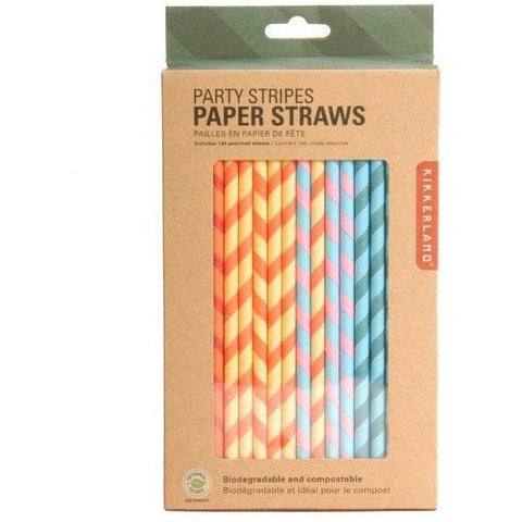 Kikkerland Party Stripes Paper Straws - Cups and Straws - Anglo Dutch Pools and Toys