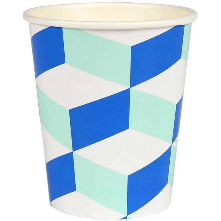 Cups And Straws - Meri Meri Cubic Blue And Mint Patterned Party Cups