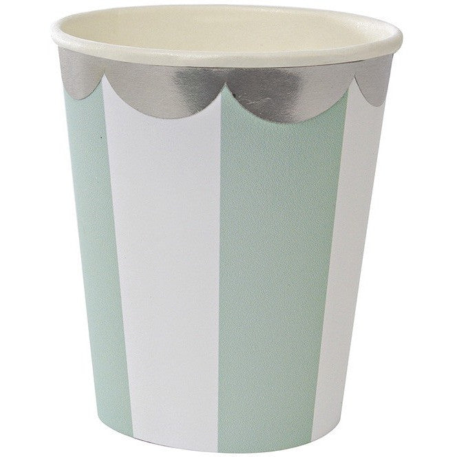 Meri Meri Toot Sweet Aqua Stripe Party Cup - Cups and Straws - Anglo Dutch Pools and Toys