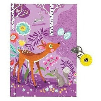 Diaries And Journals - Mudpuppy Forest Friends Locked Diary