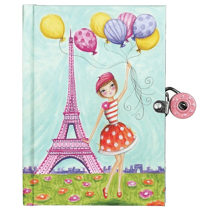 Diaries And Journals - Mudpuppy J'Adore Paris! Locked Diary