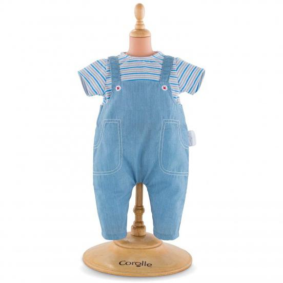 Doll Accessories - Corolle Striped T-Shirt & Overalls For 14-inch Baby Doll
