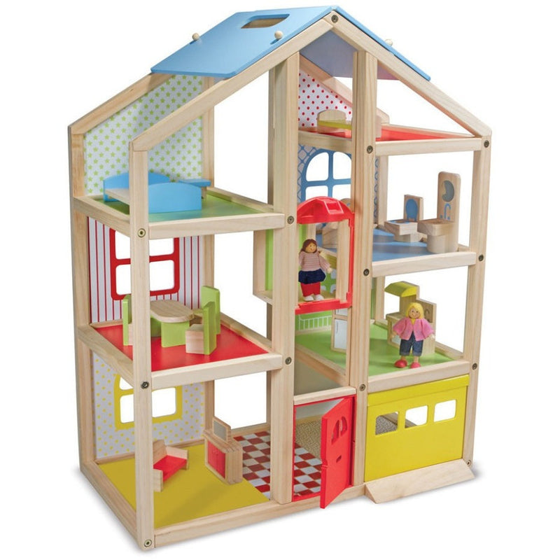 Melissa & Doug Hi-Rise Wooden Dollhouse and Furniture Set- - Anglo Dutch Pools & Toys  - 1