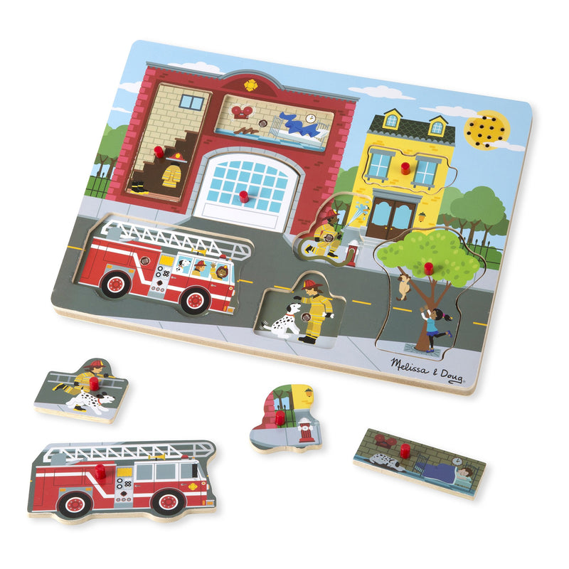 Early Learning - Melissa & Doug Around The Fire Station Sound Puzzle