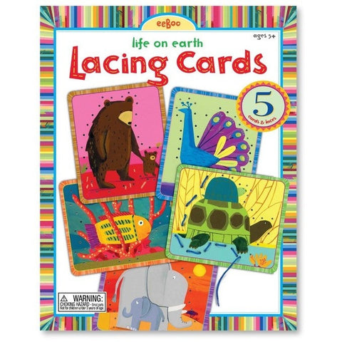 eeBoo Life On Earth Lacing Cards - Early Learning - Anglo Dutch Pools and Toys