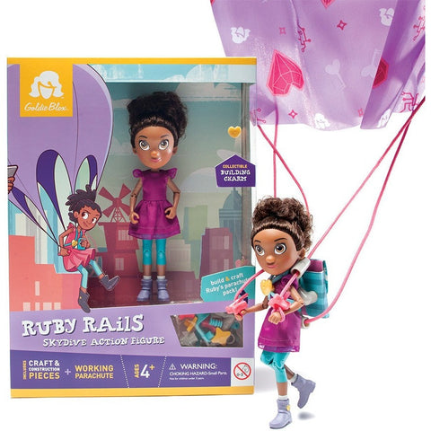 GoldieBlox Ruby Rails Skydive Action Figure- - Anglo Dutch Pools & Toys  - 1