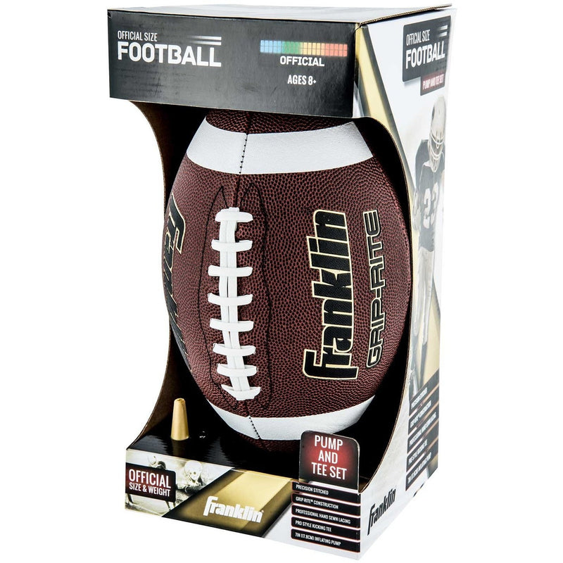 Franklin Official-GRIP-RITE Pump & Tee Football Set - Footballs - Anglo Dutch Pools and Toys