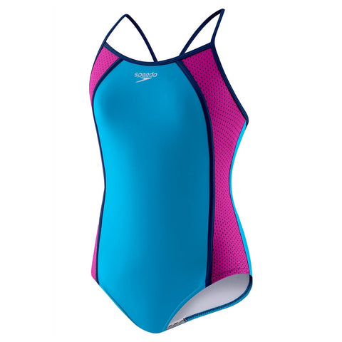 Speedo Girls' Mesh Splice Thin Strap- Pop Blue - Girls Swimwear - Anglo Dutch Pools and Toys