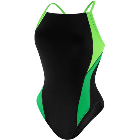 Speedo Launch Splice Cross Back (Youth) - Green - Girls Swimwear - Anglo Dutch Pools and Toys