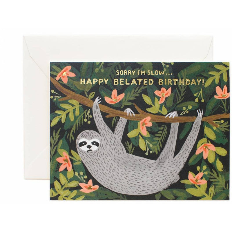 Sloth Belated Birthday Greeting Card - Greeting Cards - Anglo Dutch Pools and Toys