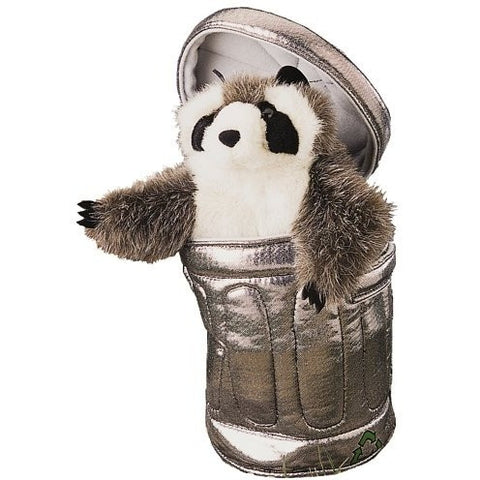 Folkmanis Raccoon in Garbage Can Hand Puppet - Hand Puppets - Anglo Dutch Pools and Toys