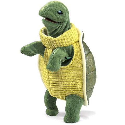 Folkmanis Turtleneck Turtle Hand Puppet- - Anglo Dutch Pools & Toys  - 1