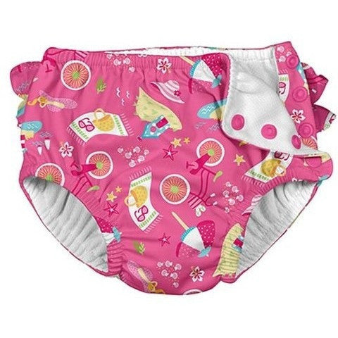 i Play Fun Ruffle Snap Reusable Swimsuit Diaper- Pink Cabana - Infant Swim Diapers - Anglo Dutch Pools and Toys