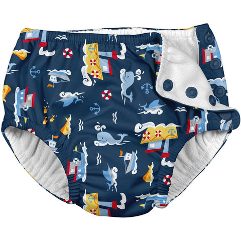 i Play Fun Snap Reusable Swimsuit Diaper- Navy Tugboat - Infant Swim Diapers - Anglo Dutch Pools and Toys